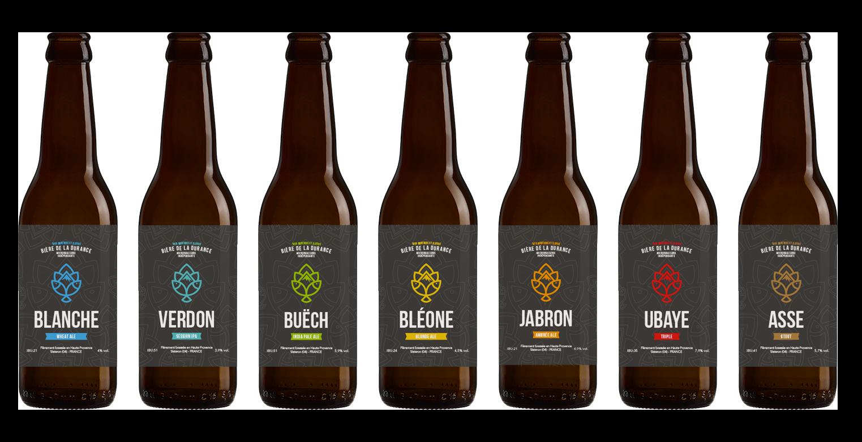 Notre gamme de 6 bières Bio - Bléone, Jabron, Buëch, Verdon, Blanche, Ubaye, Asse